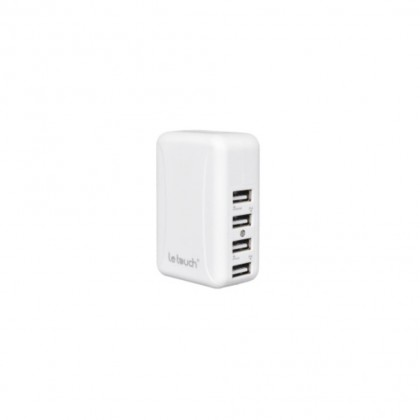 Letouch USB X 4 Travel Charger with universal AC plugs - White