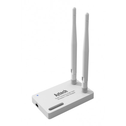 Aztech WL583USB 300Mbps Wireless N Dual Frequency USB 2.0 Adapter with High Gain Detachable Antenna x 2