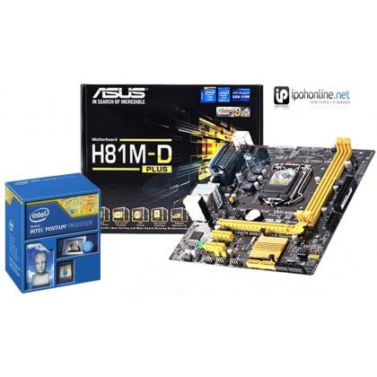 Asus H81M-D Intel H81M LGA 1150 DDR3 VGA DVI USB 3.0 Micro ATX Motherboard + Intel Pentium G3260 3.3GHz Dual-Core LGA 1150 Desktop Processor-Promo Pack