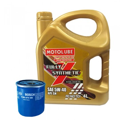 Toyota Vios Altis Wish Avanza - YOKOHAMA MOTOLUBE 5W-40 Fully Synthetic Engine Oil Pro Race Tech 4L + Bosch Oil Filter 0350