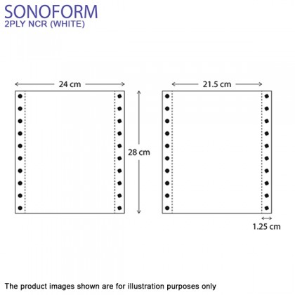 SONOFORM 9.5 x 11 Inch 2PLY NCR Computer Form 1000 Fans - White
