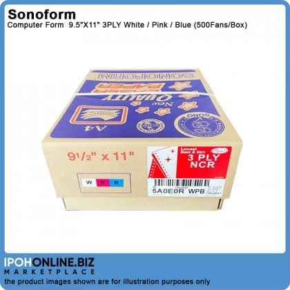 SONOFORM 9.5 x 11 Inch 3PLY NCR Computer Form 500 Fans - White Pink Blue