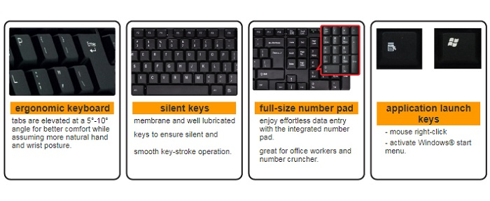 Sensonic K250 Full Size Compact USB Wired Keyboard With Number Pad For Office And Home Use